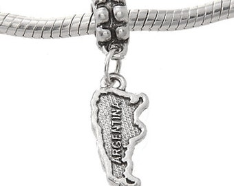 Sterling Silver One Sided Country of Argentina Dangle European Bead Charm