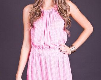 80s Vintage Sweet Pink Polka Dot Mini Dress