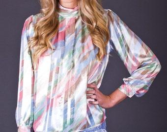 SALE 50% OFF 80s Vintage Sheer Pastel Tiger Stripe Secretary Blouse