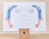 Romantic Original Hand Drawn Watercolor Scroll Wedding Invitation Set