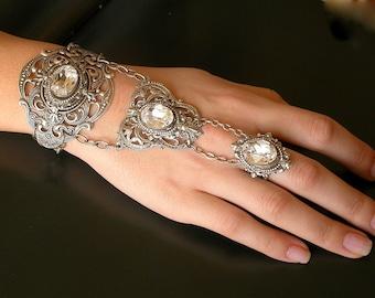 Romantic Silver Slave Bracelet -  Victorian Swarovski Crystal  Bracelet  - Wedding Bridal Jewelry