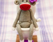 Personalized/Custom Sock Monkey Potty Training Trophy, Polymer Clay by Creative Contours
