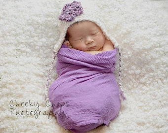 Cream and Purple Earflap Hat, Ivory Baby Hat, Purple Crochet Hat, Ivory Newborn Hat, Purple Flower Hat