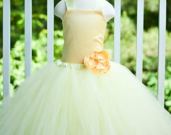 Flower Girl Tutu Dress Floor Length Sewn Tutu Dress Light Yellow and Butter with Satin Corset and Satin Flower Hair Clip CUSTOMIZABLE