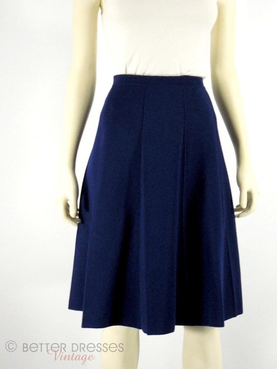 60s navy blue italian wool a line skirt med lg by