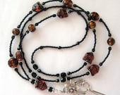 Cat Faces, Black & Tortoise Shell Beads, Elegant Beaded Lanyard ID Badge Holder SRAJD