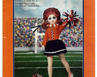 """Cheerleader outfit  for 15"""" Fashion Doll Crochet  Pattern Fibre Craft  FCM226"""
