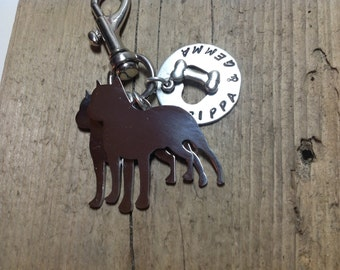 Two Pitt Bulls Custom Keychain Dog Lover PITTIE, prick ears