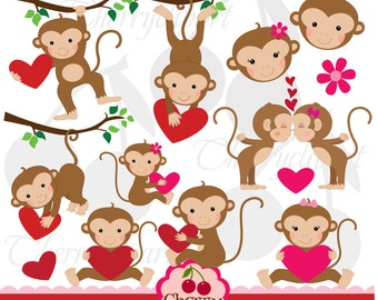 Monkey Love Digital Clipart set-Personal and Commercial Use-paper crafts,card making,scrapbooking,web design