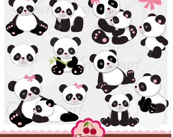 Cute Panda Digital Clip Art  Set  for-Personal and Commercial Use-Card Design, Scrapbooking, and Web Design