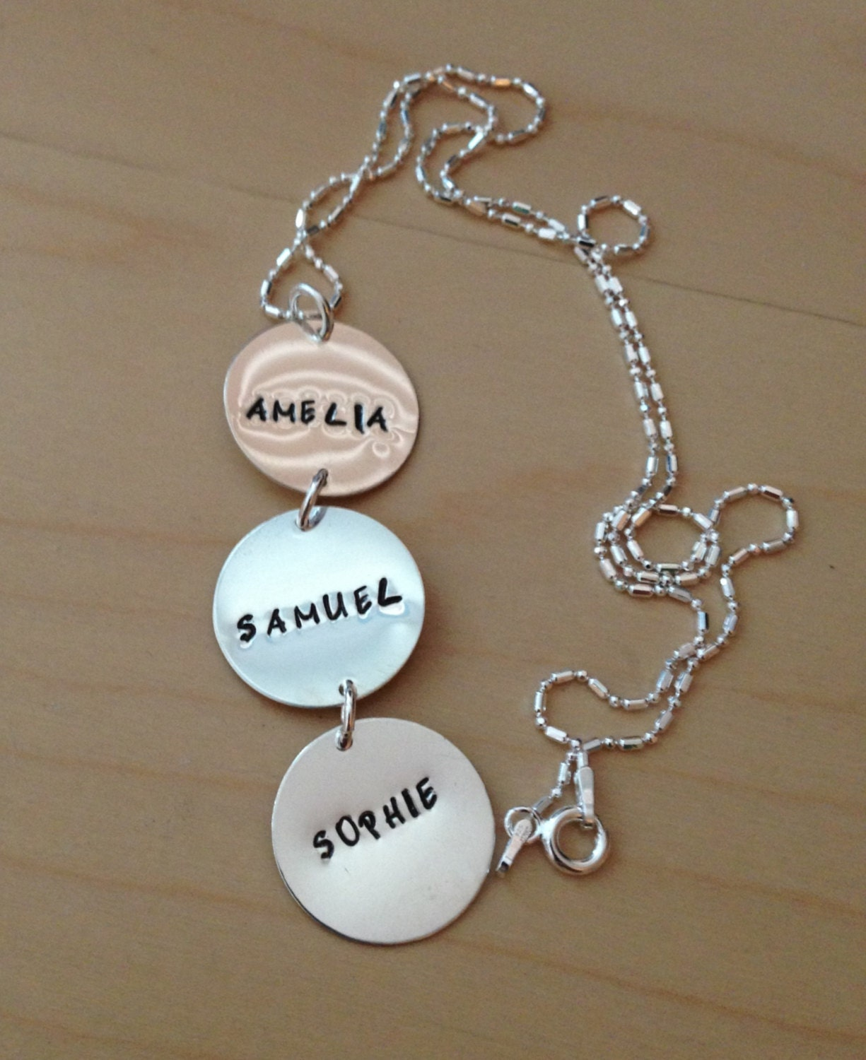 Three Charm Sterling Silver Hand Stamped Personalized Necklace
