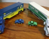 Two Vintage 90s NASCAR Mini Die Cast Racing Team Transporters - Quaker State, Sunoco