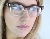 Vintage 50's Unisex Liberty Coffee Fade Cat Eye Eyeglasses Frames