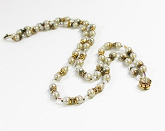 1950s necklace Alice Caviness faux pearl rhinestone rondelle brass aurora borealis Czech glass double strand beaded choker