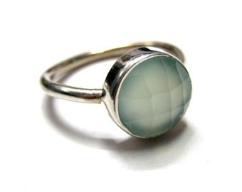 925 Sterling Silver Aqua Blue Chalcedony Ring , Fine Quality Chekker cut Faceted Round Shape seafoam chalcedony gem stone Hand made Ring