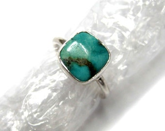 Natural Tibetian Turquoise 925 Sterling Silver Ring , Cushion Shape Smooth Cabochon Gem stone , hand made stackable rings