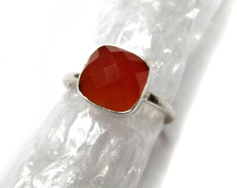 925 Sterling Silver Red Onyx Ring , Fine Quality Chekker cut Faceted Cushion Shape gem stone Hand made Ring
