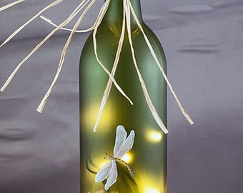 Lighted Wine Bottle, Hand Painted - Tulip and Dragonfly - Gifts for Women, Frosted Glass, Housewarming Accent Lamp Birthday Gift Graduation