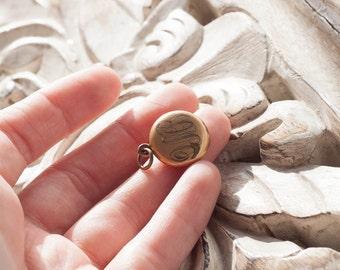 Victorian Tiny Locket -  Antique -  Charm / Pendant / Gold Filled