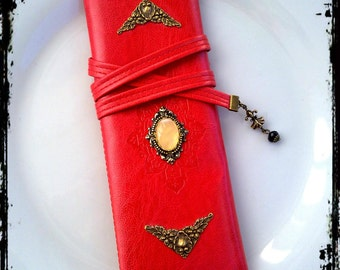 Gothic Cosmetic Pouch Pencil Case Red Pouch Victorian Pouch Ornate Leatherette Make Up Bag Victorian Gothic Accessories