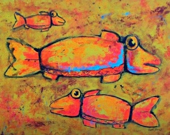 Whimsical ancient fish orange turquoise big painting home and office decor acrylic on canvas