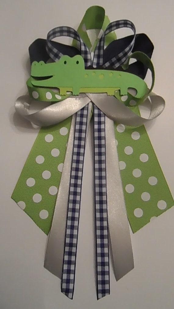 alligator baby shower pin corsage