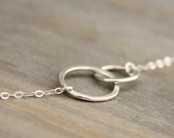 Intertwined Sterling Silver Circle Necklace Minimal Modern Collarbone Necklace Petite Forged Silver Circle Infinity
