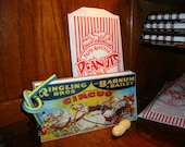 """CIRCUS CARNIVAL STATIONARY Set: Spiral Bound Notebook, """"Bendy"""" Pencil & Peanut Shaped Erasers"""