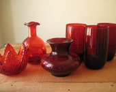 Beautiful Red Glass Collection / Red Cruet/ Red Glass Vase/ Ruby Red Candle Holder/ Ruby Depression Glass