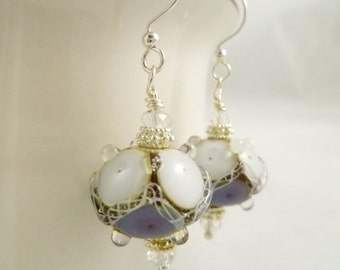 Purple and White Lampwork Glass Earrings