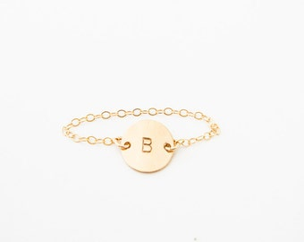 ring // custom ID letter initials number plus sign stamped ring, 14k gold filled personalized ring, gold chain ring, tiny delicate gold ring