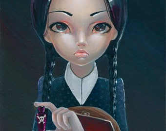 Wednesday Addams And Thing SIGNED Mini PRINT Simona Candini Gothic Big Eyes Lowbrow Art