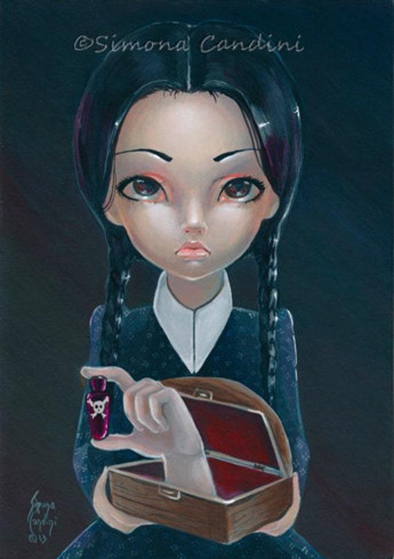 Mercoledì Addams e cosa firmato Mini stampa Simona Candini gotico occhioni Lowbrow Art - il_570xN.460086922_11gt