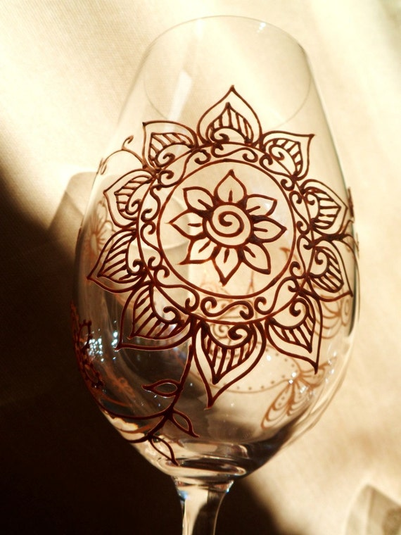 Mehndi Arm Glass : Items similar to hand painted glassware in henna