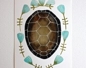 Tortoise Shell Watercolor Painting - Nature Art - Archival Print