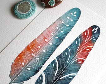 Feather Watercolor Painting - Archival Art Print - Luna Feathers