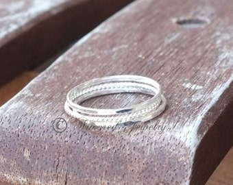 Stacked Sterling Silver Rings - Set of 3 rings - stacker stackable stack - dainty delicate simple - gifts under 25 30 40 50