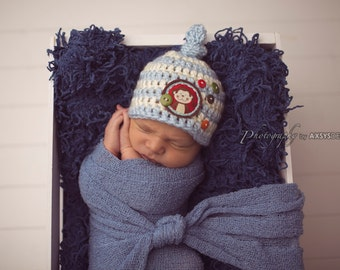 Newborn Knot On Top - Striped Beanie-Monkey Beanie Photography Prop - Blue and White