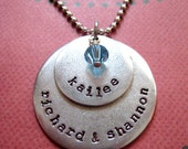 Personalized hand stamped layered antiqued mixed metals mothers grandmothers necklace with birthstone or pearl several names