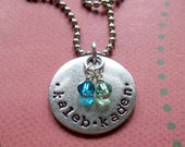 Personalized hand stamped mother's necklace with childrens names dates grandmother's friends silver circle tag birthstones