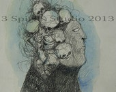 """SALE Original Drawing with Watercolor """"A Wig of Notions"""""""