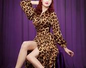 Bettie Page Inspired Full Length Robe, Leopard Print, Pin Up Girl - VERY VLV, Full Length Dress, Gown