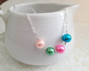 Pastel Party Necklace. Round Glass Pearls. Light Pink. Blue. Green. Silver Chain. Dainty. Everyday Necklace. Simple. Minimalist.