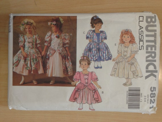 Butterick Sewing Pattern 5821 Childrens Dress Size 2-3-4 90s Sale