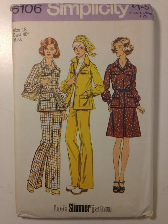 Simplicity 70s Sewing Pattern 6106 Misses and Womens Shirt-Jacket, Skirt and Pants Size 12 or 18 Sale