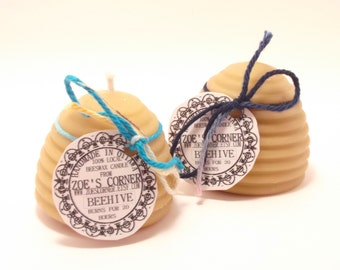 Beeswax Candle- 2 Beehive Beeswax Candles (EACH BURNS FOR 20 Hours)