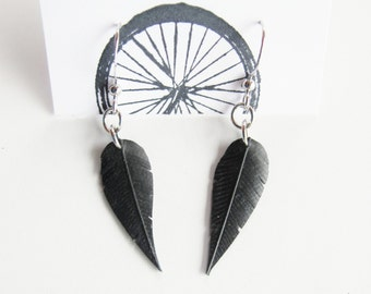 Small Innertube Feather Earrings - Recycled Jewelry - handmade - bike - black