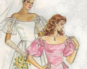 1980s Wedding Dress Butterick Sewing Pattern Size 8 Bridesmaid Gown Full Skirt Puff Sleeves