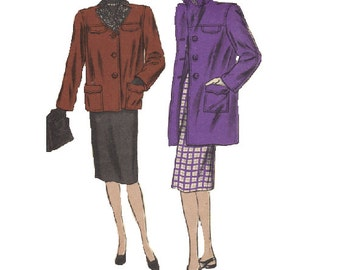Ladies Box Coat Vogue Sewing Pattern 1940s Vintage Notched Collar Flap Pockets Button Front Jacket Winter Fall Fashion Bust 32 Uncut