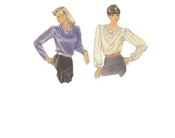 Simplicity 7092 Sewing Pattern 80s Retro Misses Blouse Cowl Neck Long Sleeves Puff Shoulders Disco Fashion Size 8 Uncut Bust 32